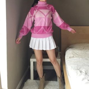Vintage Turtleneck Chunky Sweater In Pink.